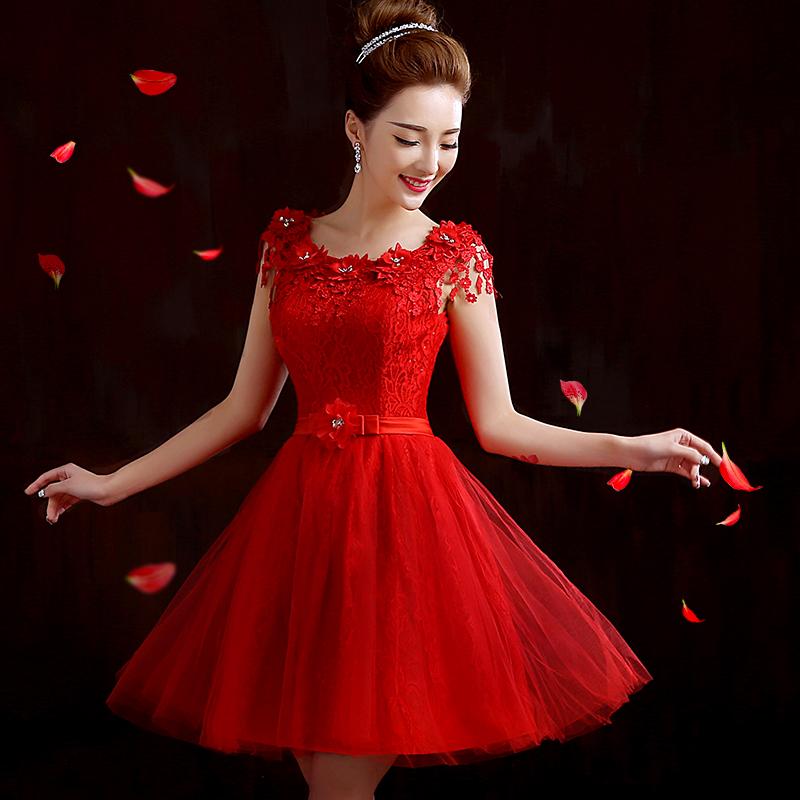 2015新款礼服连衣裙春夏新娘结婚敬酒服短款时尚伴娘服女士晚礼服