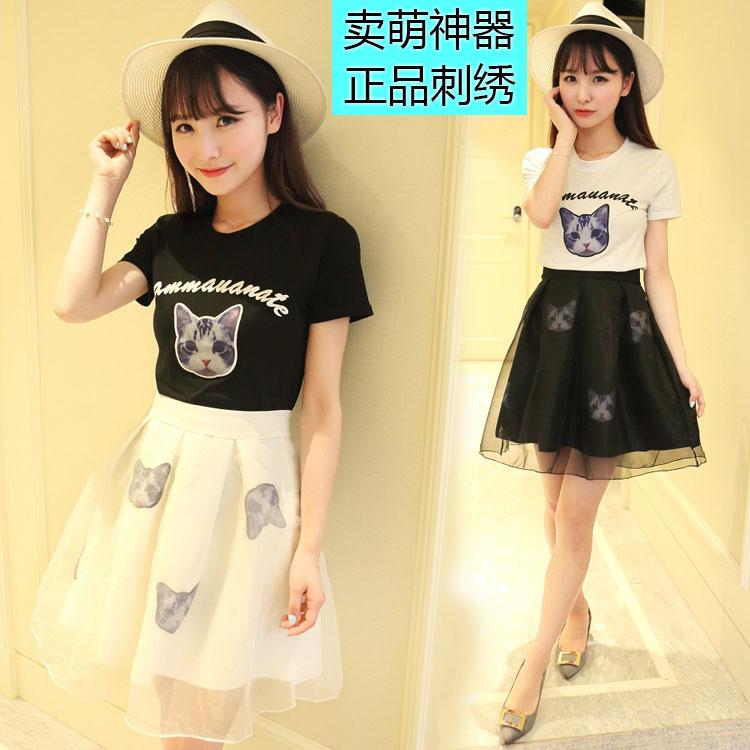 2016夏装新款套装裙子韩版蓬蓬裙两件套短裙学院风连衣裙女学生潮