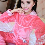 法兰绒睡衣女士秋冬两件套长袖长裤可爱加厚开衫珊瑚绒大码家居服