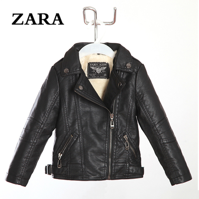 2014 new winter leather jacket lapel children, boys and girls plus velvet thick fur coat big virgin child