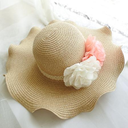 遮阳帽 女帽子韩蝴蝶结时尚沙滩草帽大沿草帽 波浪边防晒荷叶边帽