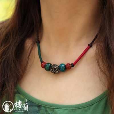 Loulan Inn Ethnic necklace ceramic female clothes and accessories, jewelry simple short paragraph Chinese wind clavicle chain