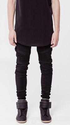 High street brand represent Wraith Biker ruffle elastic black jeans