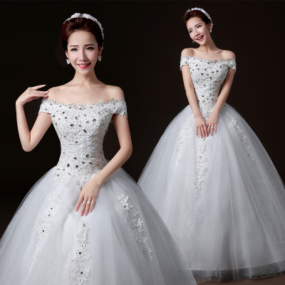 The bride wedding dress 2014 new fashion Korean version of the word shoulder was thin straps Qi diamond big yards autumn and winter