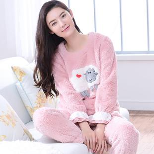 睡衣女冬韩版加厚长袖可爱卡通睡衣冬季女款珊瑚绒法兰绒睡衣套装