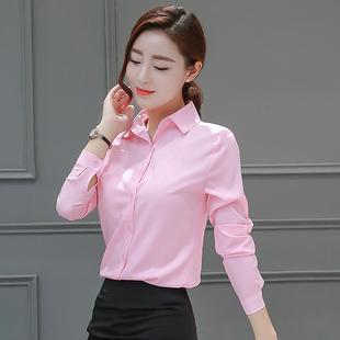 2019春秋长袖雪纺衬衫女正装OL职业衬衣显瘦韩范学生