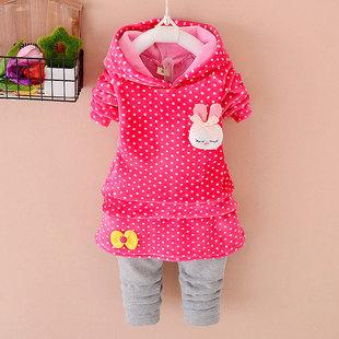 圆点点 2015新款童装小童加厚1-2-3-4岁女宝宝不倒绒裙子套装