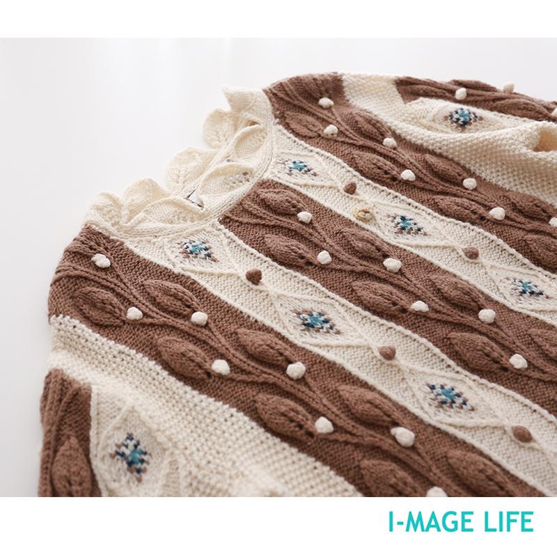 日单孤品 艺术家 重工浮花钩针装饰纯羊毛套头毛衣