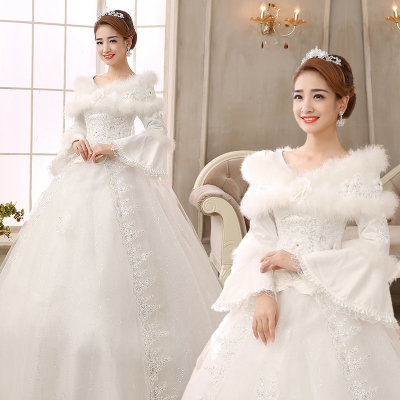 2014 winter fashion new bride wedding dress winter long-sleeved cotton winter models pregnant Qi wedding winter winter