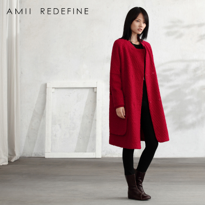 AMIIREDEFINE2014 new winter coat female long raglan sleeve wool woolen jacket big yards