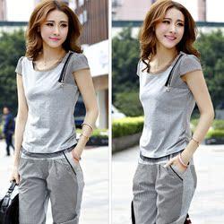 2014夏韩版大码宽松运动休闲服短袖T恤套装两件套时尚卫衣套装