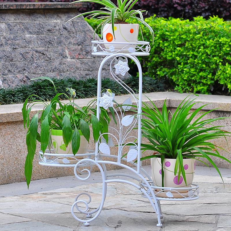 【新滢】欧式创意铁艺花架 艺术创意阶梯花盆架 多层加固花架几图片