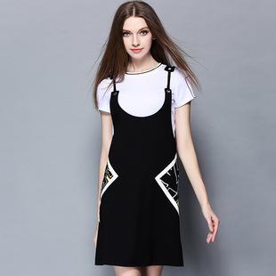 2016时尚欧美白色圆领拼色T恤显瘦印花背带裙两件套短裙时尚套装