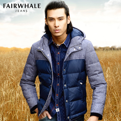 Fairwhale stitching thick down jacket men hooded men short down jacket winter coat 2014