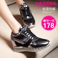 莱卡金顿2015春夏新款休闲系带女鞋时尚内增高透气网纱气垫运动鞋