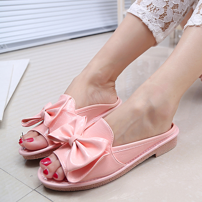 2014 Korean tidal bow female slippers cool slippers flower shoes street sets toe flat candy-colored shoes