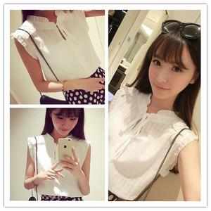 3117#夏装新款2015韩版小清新木耳边立领无袖衬衣衬衫女