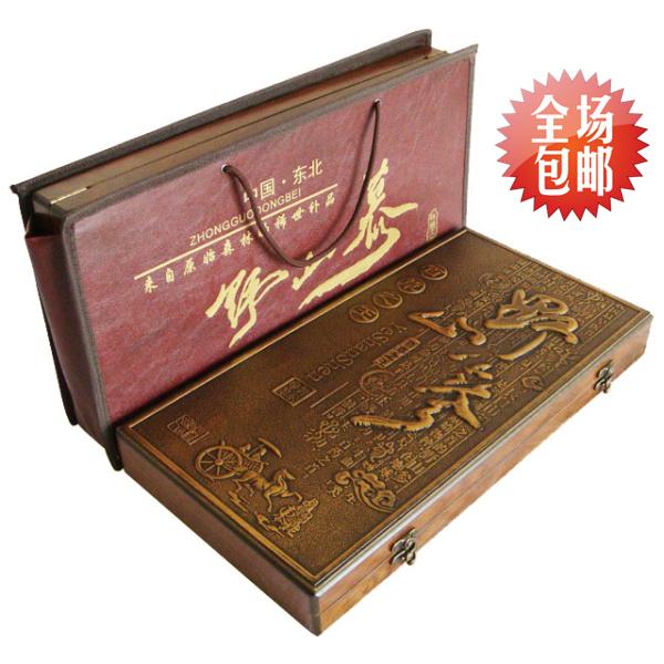 Дикий женьшень женьшеня подарок коробка подарка Чанбай горный женьшень подарок коробки Цзилинь женьшеня с сертификатом пакет почты