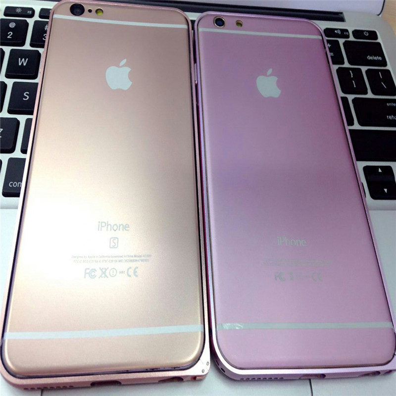 苹果iphone6splus粉色贴膜全屏彩膜4.7钢化膜六背膜玫瑰金前后膜