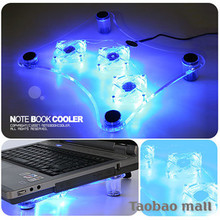 Crown laptop radiator thin transparent 3 fan base Blue light heat dissipation base