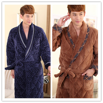 Young men winter robe winter thick lengthened three male models thick coral velvet robe bathrobe folder jacket