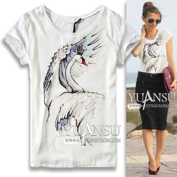 The new 2015 women's summer wear emulation silk joining together cultivate one's morality short sleeve T-shirt