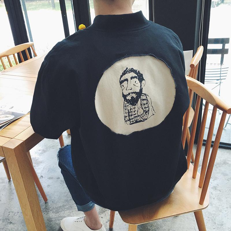 港仔春装新品男士夹克衫青少年加厚棒球服时尚休闲卡通刺绣外套潮