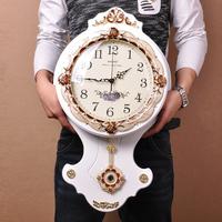钟表挂钟客厅 现代创意静音个性石英钟卧室大号欧式圆形简约时尚
