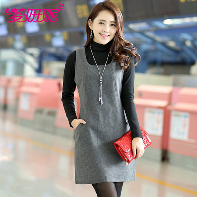 Meng Yan-ni 2014 winter new Korean version of large size women's temperament elegant sleeveless woolen vest dress