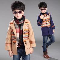 男童呢子外套秋冬装2015新款中大儿童宝宝呢子大衣中长款韩版新潮