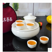 Blasting with limited are blue and white ceramic chaozhou kungfu tea set bone porcelain tea tray travel gift set custom LOGO