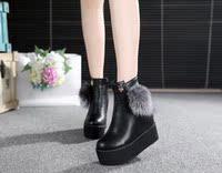 欧洲站潮2015秋冬季新款内增高跟坡跟厚底松糕鞋女鞋短靴中筒靴子