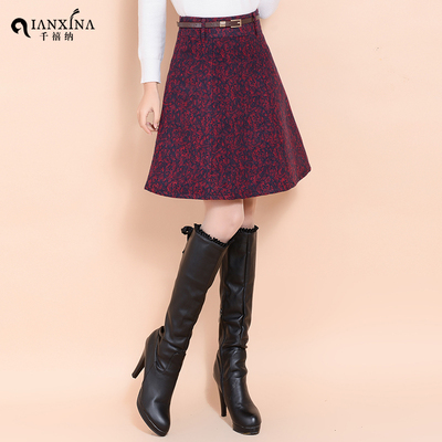 Millennium satisfied new winter woolen skirt suit in woolen skirts Korean version of the printed A-line skirts sheds female