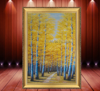 包邮欧式手绘油画 抽象黄金大道风景客厅 现代玄关竖版过道装饰画