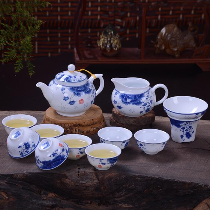 青花瓷礼品茶具套装 功夫茶具 送礼茶具茶壶陶瓷 特价