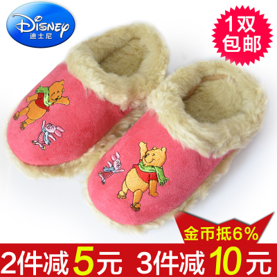 Plush brown velvet girls genuine child warm slippers cotton slippers Disney Winnie the Pooh home