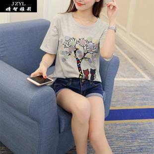 2016修身清纯夏季新款韩版时尚胖MM显瘦刺绣小猫宽松短袖t恤女