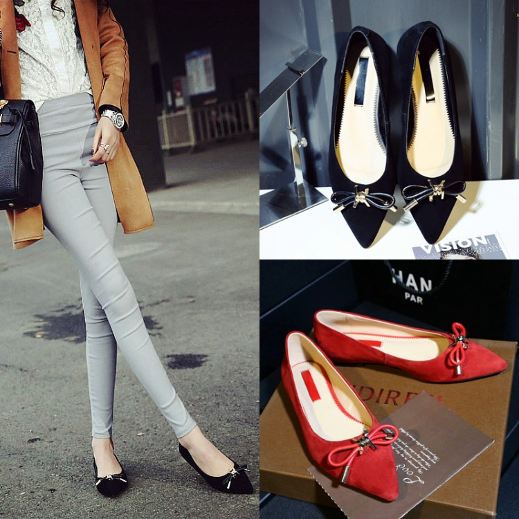 New fashion bows pointed toe high heels shoes