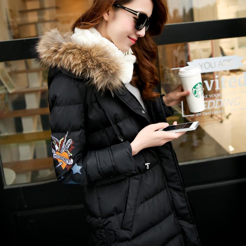棉衣女中长款加厚2016新款韩版冬装女式大码修身棉衣外套带毛领