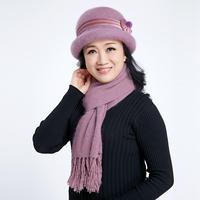兔毛帽子中老年人帽子围巾加厚保暖盆帽妈妈奶奶帽护耳针织毛线帽