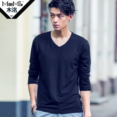 Wood Ming Spring 2014 men's t-shirt primer shirt V-neck t-shirt Slim Korean men cultivating long-sleeved T-shirt tide T-shirt