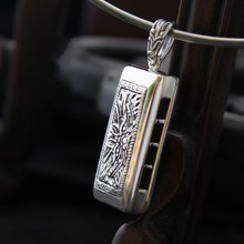Losheng 925 sterling silver pendant new pirate ship The harmonica pendant punk wind restoring ancient ways men and women can wear