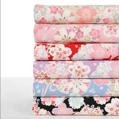 Japanese cherry bag wind pollen color linen cotton fabric of Chinese clothing fabrics