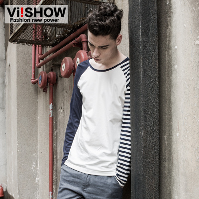 viishow2014 new autumn striped T-shirt men cotton long-sleeved T-shirt tide men's sports jacket