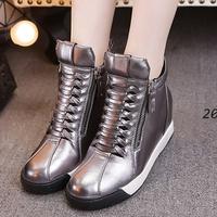 切尔西靴女英伦2015秋冬圆头短筒短靴内增高高跟雪地靴坡跟女鞋