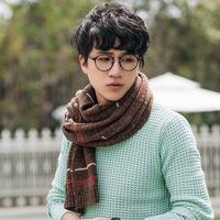 2016秋冬新款男士羊毛围巾 加厚情侣欧美休闲超长条纹保暖围巾