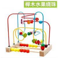 儿童玩具大号榉木水果绕珠串珠木制益智宝宝动手绕珠玩具批发2岁