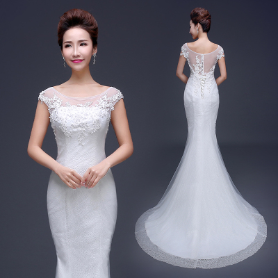 2014 Winter new Korean fashion trailing fishtail wedding dress bride wedding dress was thin waist straps