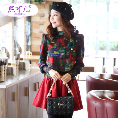 CHIC children new winter 2014 Korean long-sleeved sweater dress two-piece dress autumn and winter woolen suit