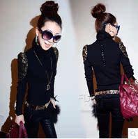 2015秋季新款韩版小衫女士t恤大码修身高领针织打底衫女长袖上衣